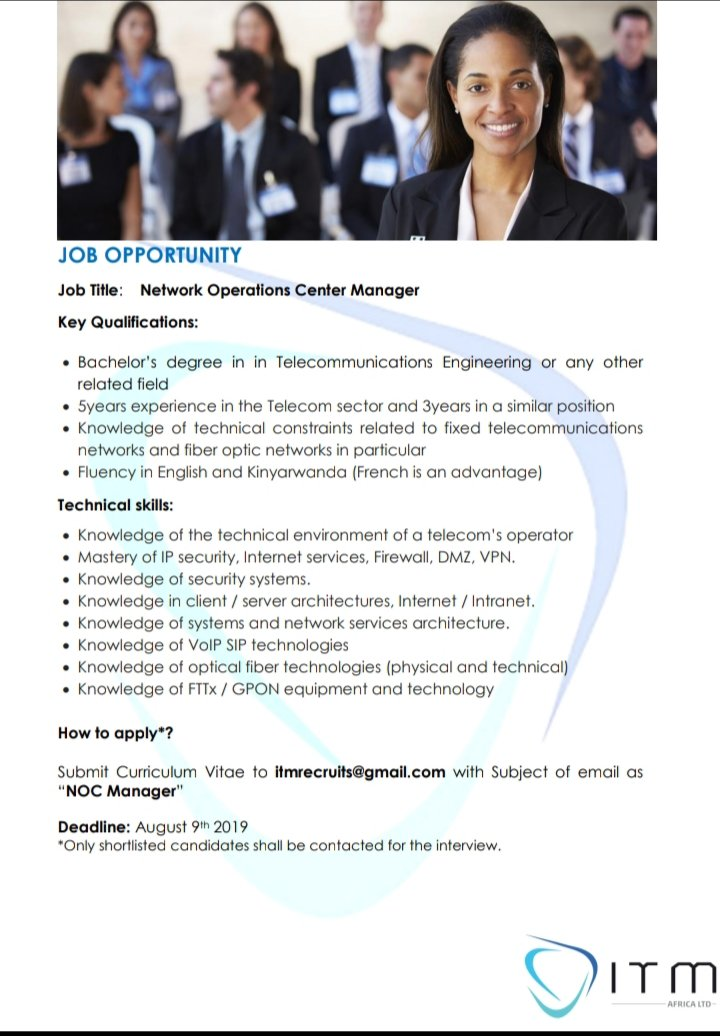 3  Network Operations Center Manager #RwOT #ApplyNow