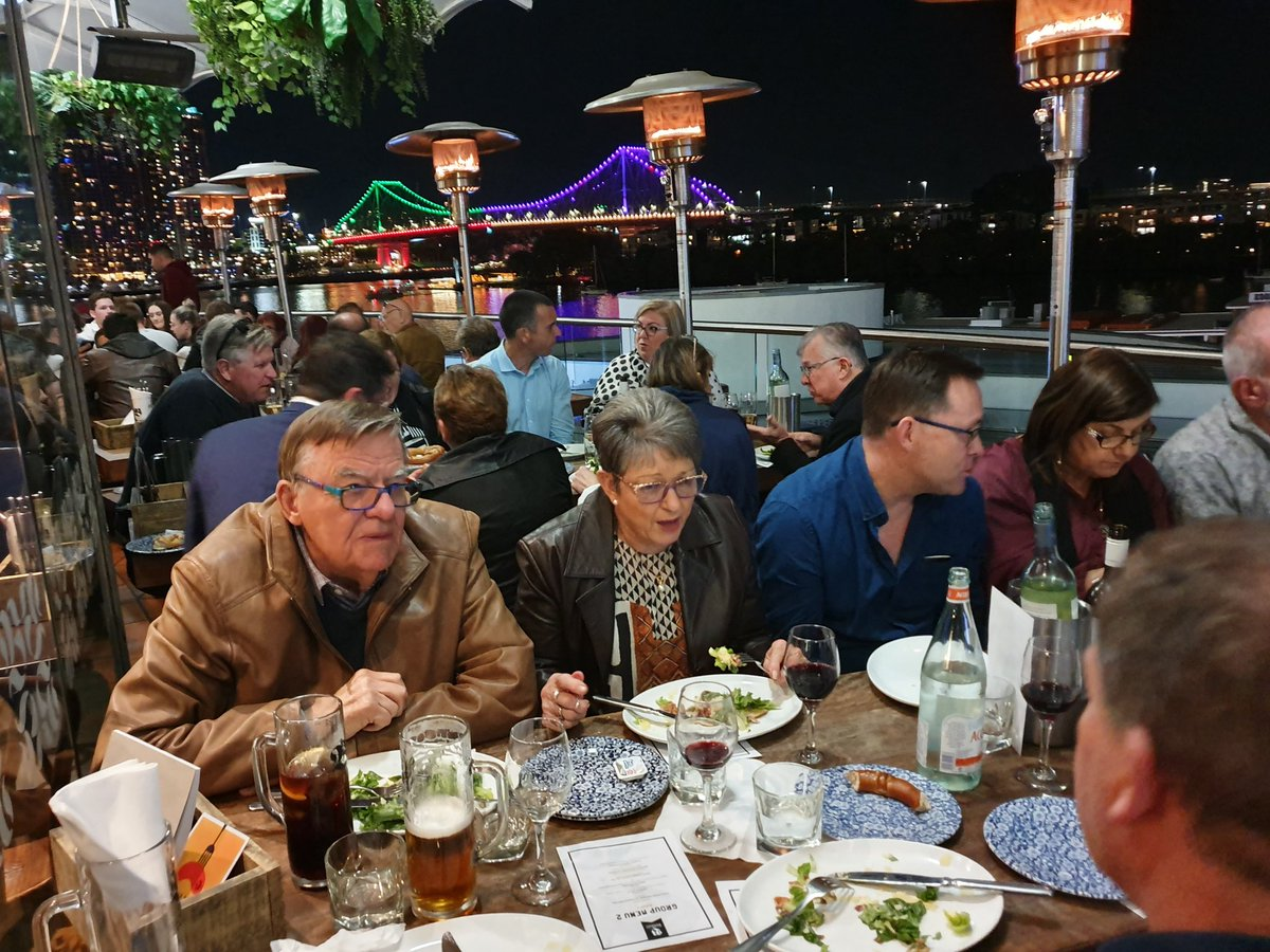 ACPPA Board enjoying dinner with founding and past ACPPA President Frank Hennessy in Brisbane