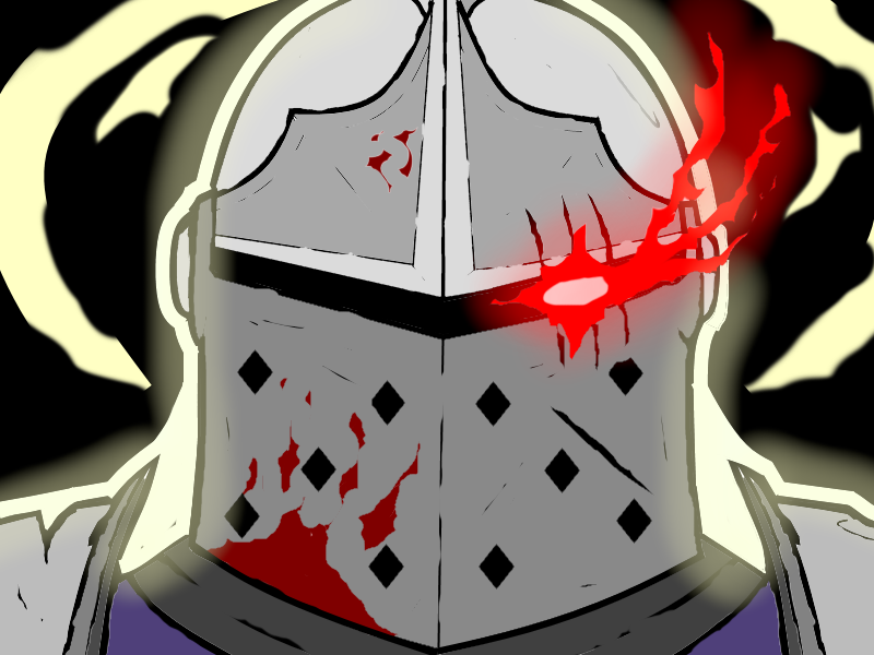 This will be my veeery first piece of (fan)art ever . Hopefully i can draw more in the future. This a battle-scarred Crusader from Darkest Dungeon in his virtuous state. (And having a bit of a Goblin Slayer moment as well.)