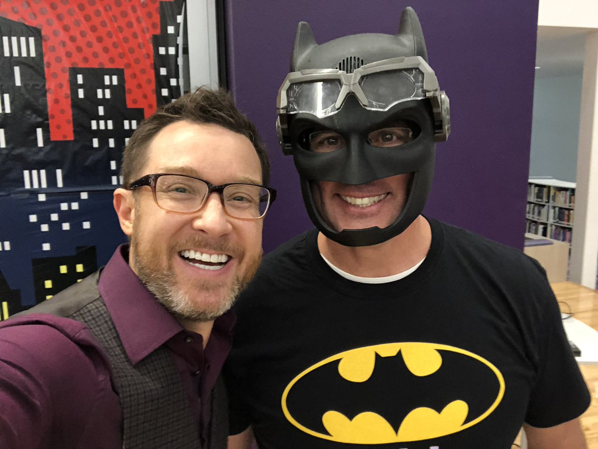 This morning, I'm speaking at an event for educators at @GodleyISD in Texas.  The superintendent of the district is dressed appropriately.  @richdear #WEareBATMAN