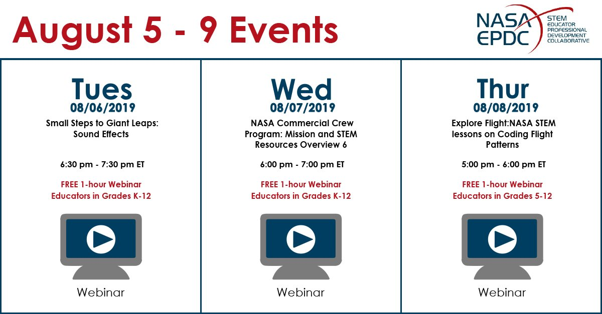 Dont miss this weeks webinar! Sign up through our website: txstate-epdc.net/events/ #NASA #EPDC #STEM #Educators