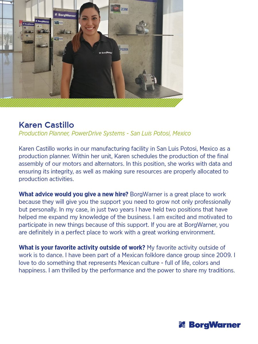 In this edition of our employee spotlight we are focusing our attention on Karen Castillo, a production planner at our San Luis Potosi, Mexico facility. Read more about Karen's advice for a new hire here: