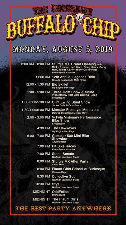 Another big day at the #BestPartyAnywhere! Check out the itinerary and take in as many of these MUST SEE events as possible! https://t.co/G5pJbavKIN  Sturgis MX   Legends Ride - Sturgis Buffalo Chip   First Gold Hotel, Suites & Gaming   Clint Ewing   Mo… https://t.co/K9H29uDxNI https://t.co/ne3tj55sD8
