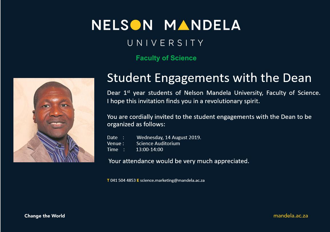 #INVITATION 3: 1st year Student Engagements with the Dean @MandelaUni https://t.co/w2efOuCHrs