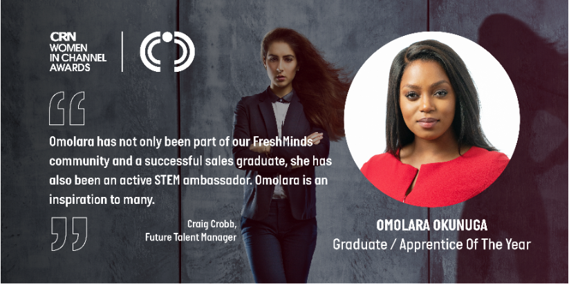 Were so proud of @omolaraokunuga who has been shortlisted for 🎓 Graduate of the Year at this years @CRN_UK Women in Channel Awards 2019... Click here bit.ly/2OCxKpV to discover why Craig Cobb, Future Talent Manager, nominated Omolara.