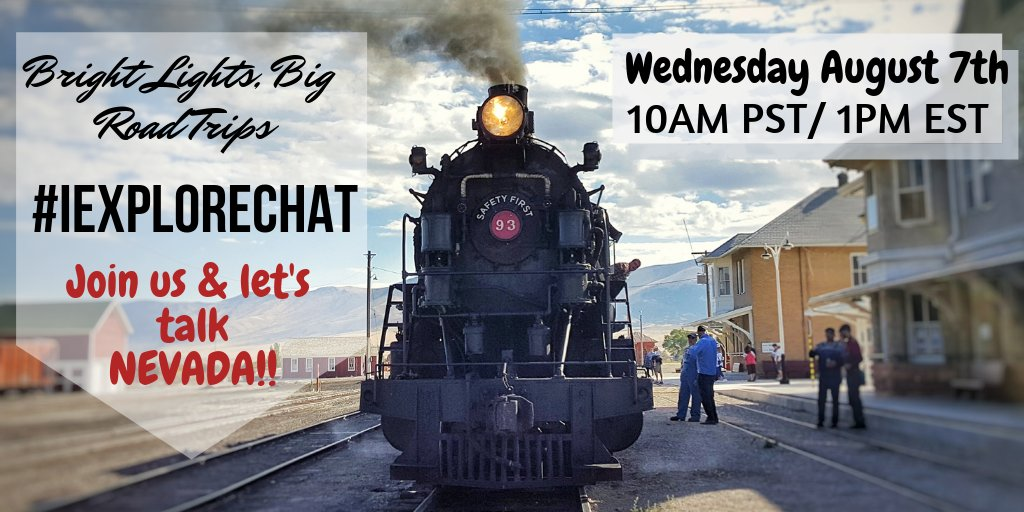 Join us August 7th as we co-host the #iExploreChat & talk about road tripping in one of our favourite states: Nevada! Join at 10am PST/1pm EST on Wednesday & learn why we love it so much or share your own stories! #TravelNevada #roadtrip