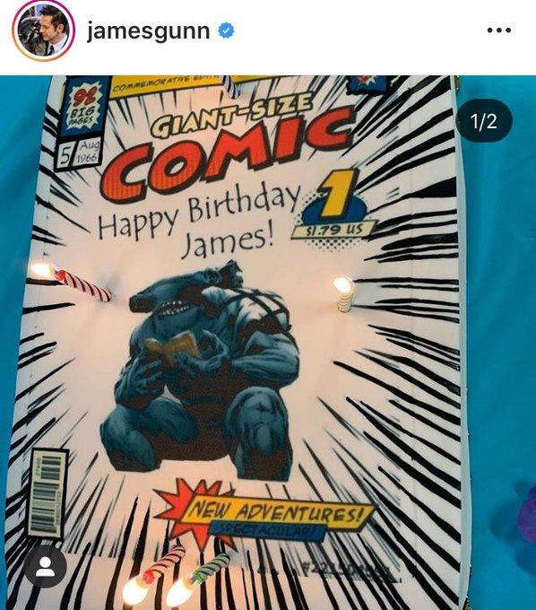 HAPPY BIRTHDAY: James Gunn e Produção de comemoram aniversário do diretor, com bolo King Shark