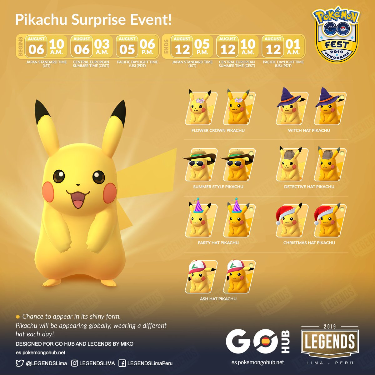 Legends On Twitter Pikachu Surprise Event From August 6 At 10 A M Jst To August 12 At 5 P M Jst Pikachu Will Be Appearing Globally Wearing A Different Hat