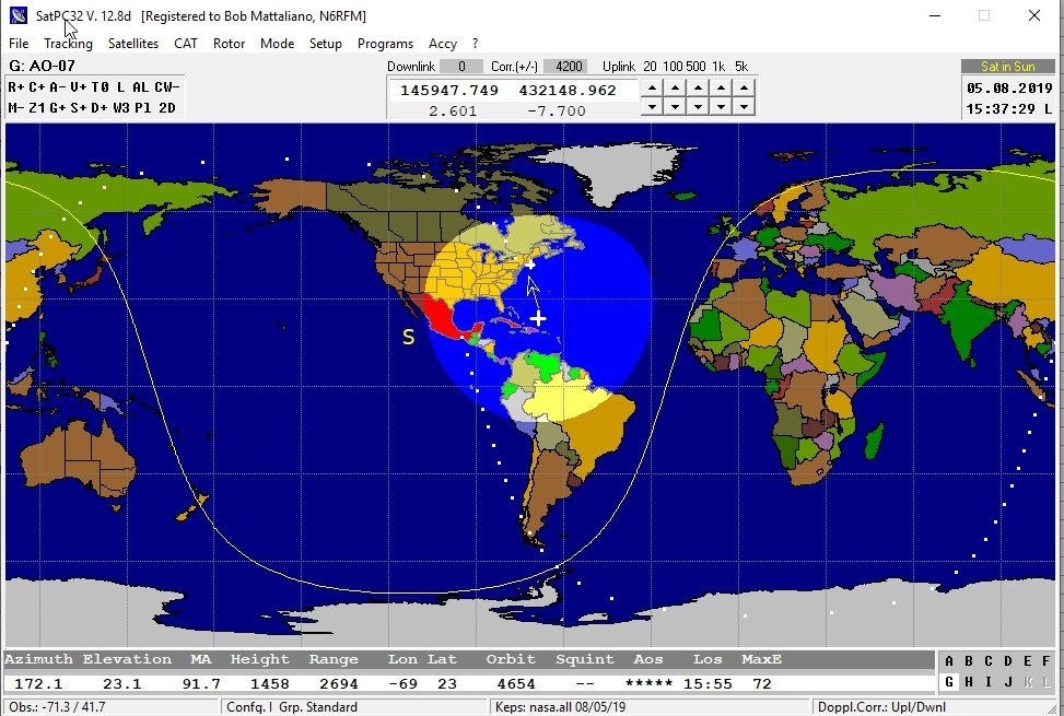 AO-7 5Aug19 Glad to work Peter #kb1hy in FN31 1936Z  Too bad
