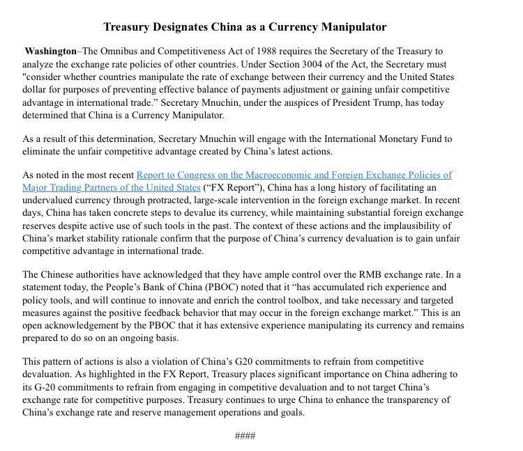 US Treasury designates China as a currency manipulator