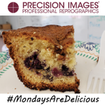 Get a gander at this beautiful fresh blueberry coffee cake that #ChefDavid made for all of us at #PrecisionImages. We are so lucky! These Monday treats sure make for a great start to the work week! #MondaysAreDelicious #MondayFunday #BestJobEver