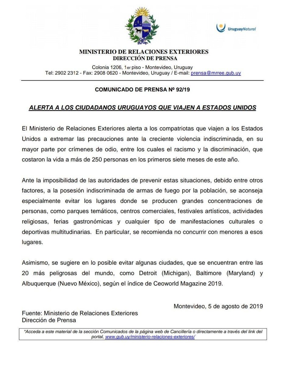 "Uruguay today issued a travel warning to its citizens visting the United States of America, citing ""growing violence"" fueled by ""racism and discrimination"" that American ""authorities are unable to prevent"" due to ""indiscriminate"" gun ownership. Let that sink in for a minute. https://t.co/M0u6520caL"