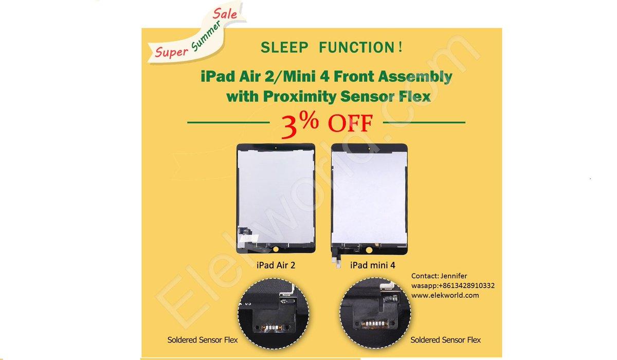 SUPER SALE !!! 3% Discount for ipad Air 2/mini 4 LCD with glass With Proximity Sensor Flex  #ElekworldJennifer #ipadscreen #ipadLCD #ipaddigitizer #ipadglass #ipad修理 #ipad #ipadair #ipadpro #ipadair2 #ipadmini4 #iPhone修理 #screenreplacements #iphonexscreen #iphonexlcdpic.twitter.com/9nCOLpH2vT