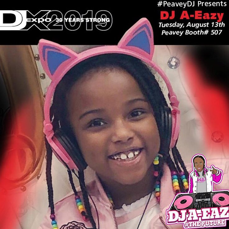 The ladies are running the show at the 2019 #djexpo ! Come check out @Peavey booth 507 with the youngest in charge DJ A Eazy, @DjSophiaRocks and the ladies of Into Fields Live Entertainment #peavey #peaveydj #girldjs #phillydjs #femaledjsdoitbetter