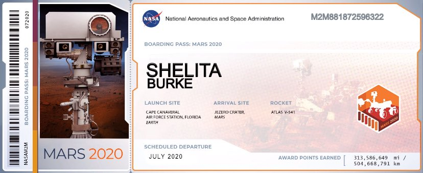 Mars 2020 boarding pass, super exciting!!! #Mars2020 https://t.co/1tlX1yR7mJ