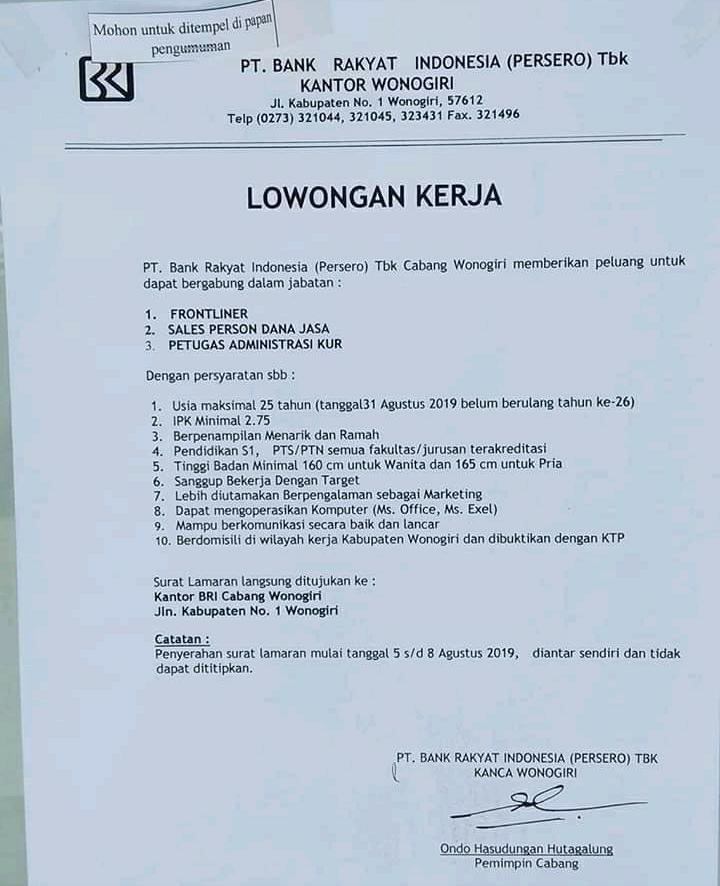Disnaker Wonogiri On Twitter Lowongan Kerta Pt Bank Rakyat Indonesia Humas Wonogiri Diskominfowng Paranggupitokec Kecgiritontro Kec Jatipurno Kec Slogohimo Kec Tirtomoyo Https T Co Iun3xpiqeu