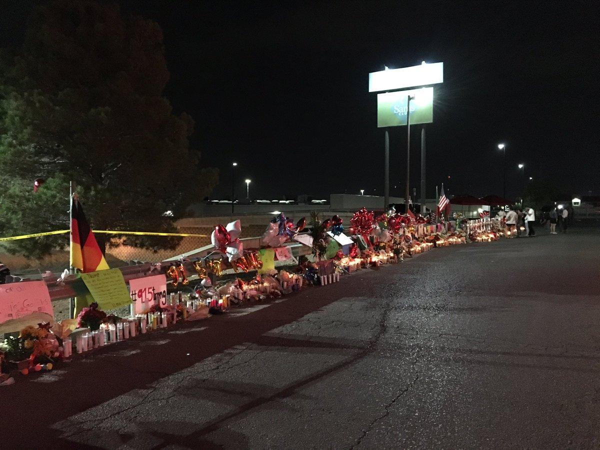 Memorial overlooking the scene of the mass shooting in El Paso, TX.