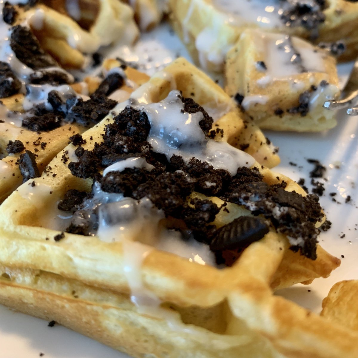 Without Oreos? Waffles With @oreo? Breakfast of champions. #oreo #breakfast #homecooking
