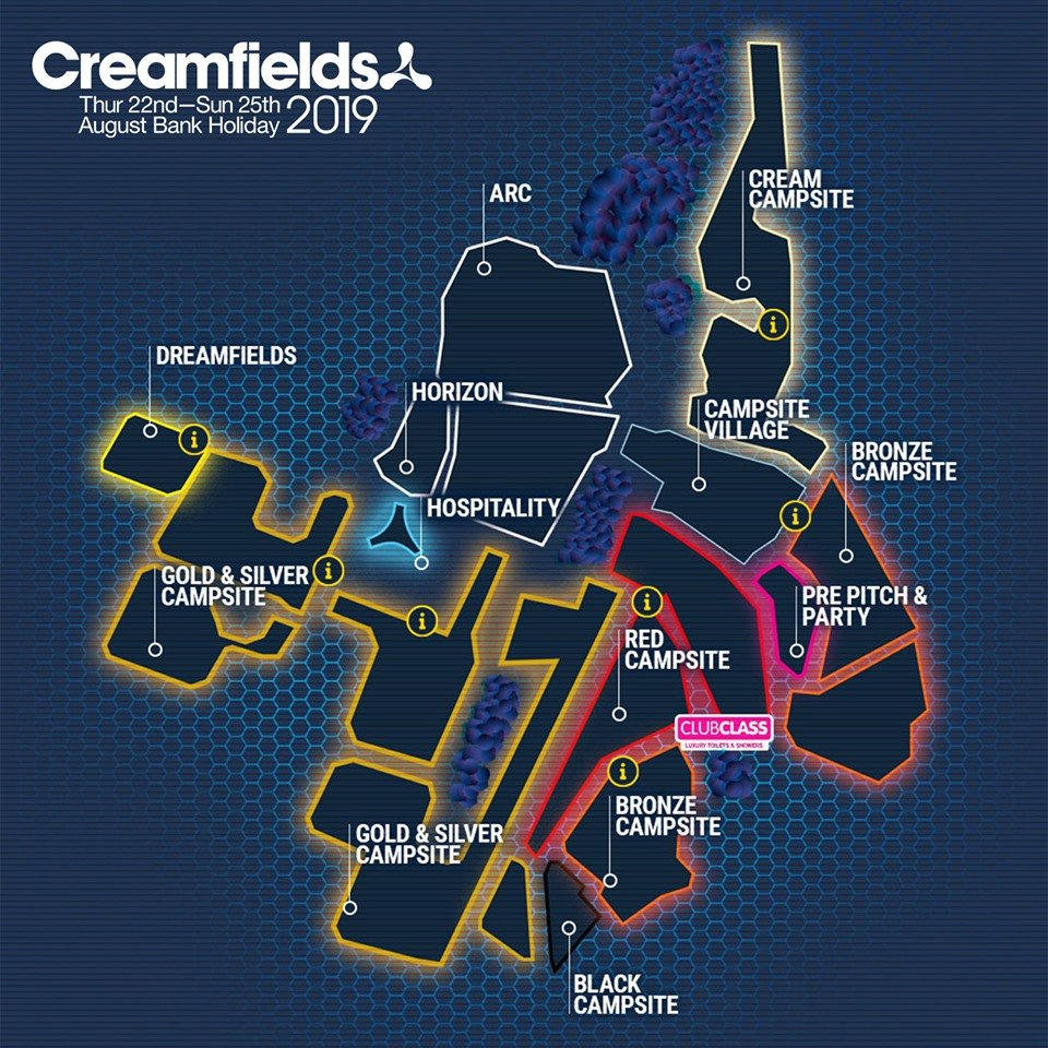 Creamfields 2019 camping map