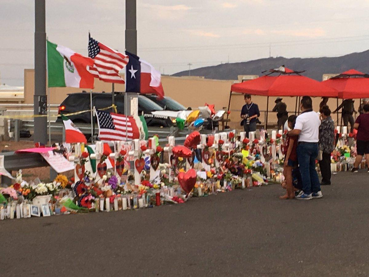 Memorial to victims of Saturday's mass shooting in El Paso, TX.