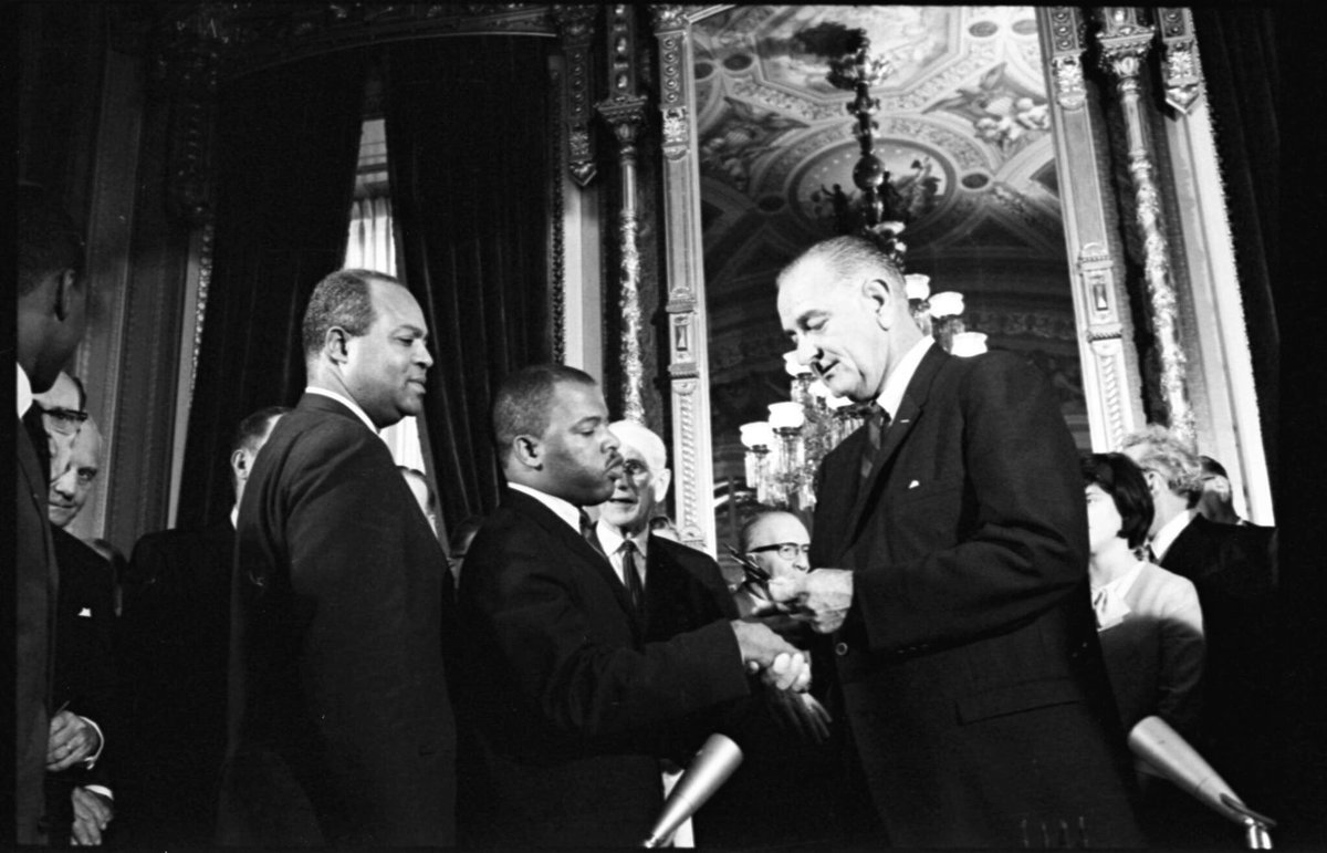 54 years ago today, the Voting Rights Act was signed into law by Pres. Johnson. Countless souls marched, protested, & stood in immovable lines so no citizen would be denied their right to vote. Now we must continue the fight to protect our democracy & redeem the soul of America.
