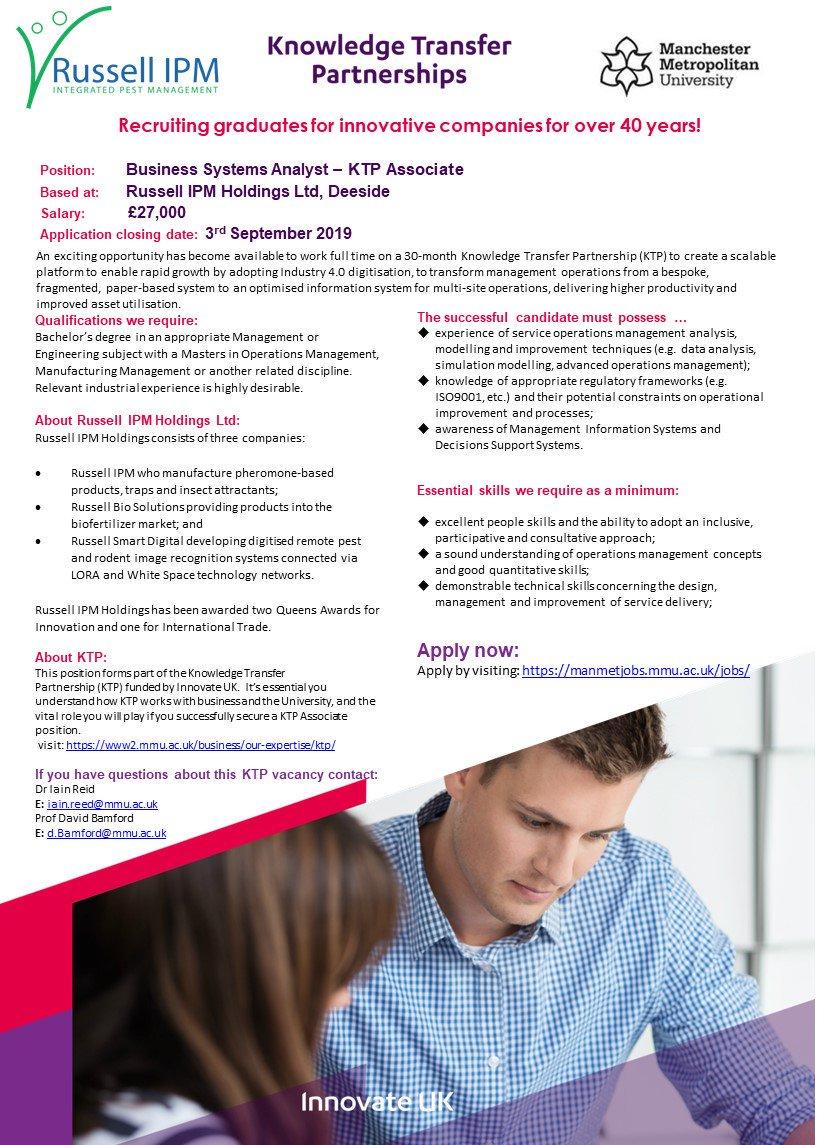 Brand new #KTP Associate role with @russellipm and @ManMetjobs for a Business Systems Analyst. Deadline 3 September manmetjobs.mmu.ac.uk/jobs/ #Industry40 @ktnuk_ktp @innovateuk @KTNUK