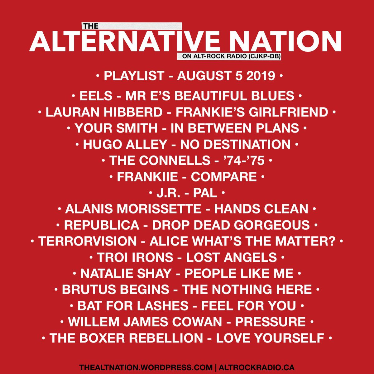 Playlist for last nights edition of The Alternative Nation Radio Show on @altrockradioca. You can stream the show worldwide on http://mixcloud.com/thealternativenation … now! #Radio #Playlist #Music #NewMusic #Classics #indie #alternative #Pop #altrock #yourFMalternative #altrockradio #Mixcloudpic.twitter.com/srq4m20PbW