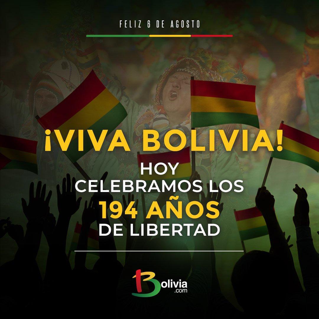 """Bolivia.com (desde ????) в Twitter: """"#DíaDeLaPatria El 6 de agosto de 1825,  el libertario Simón Bolívar, ingresó al territorio que hoy es homenajeado.  Además se suscribe el Acta de la Independencia total,"""