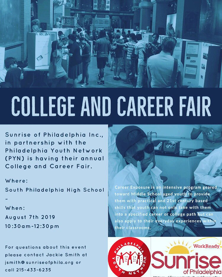 The South Philly College and Career Fair with @sunriseofphila is tomorrow!