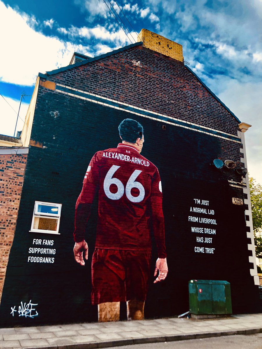 """I'm just a normal lad from Liverpool whose dream has just come true."" ❤️ Our @trentaa98 mural celebrates the local lad who has lived all our dreams and supports @SFoodbanks who do outstanding work in the surrounding area 🎨 @Akse_P19"