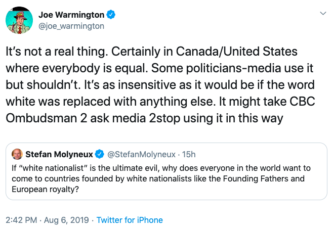 """Toronto Sun columnist shares racist tweet from high-profile white nationalist, adds that """"white nationalism"""" isn't """"a real thing"""":"""