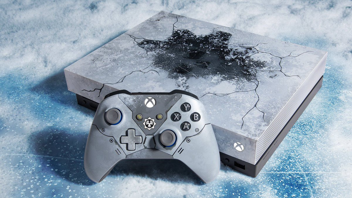 Microsoft unveils Gears-themed Xbox One X console that looks frozen