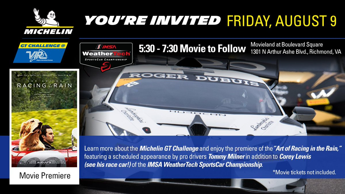 It's finally here! @VisitRichmond race fans our @IMSA pre-event party is tonight at #Movieland with @TommyMilner and @CoreyLewis39 for the movie premiere of @TheArtOfRacing  @MichelinRaceUSA | #MichelinVIR @VisitVirginia | #LOVEVA  Detailspic.twitter.com/I3sUhEYwgS