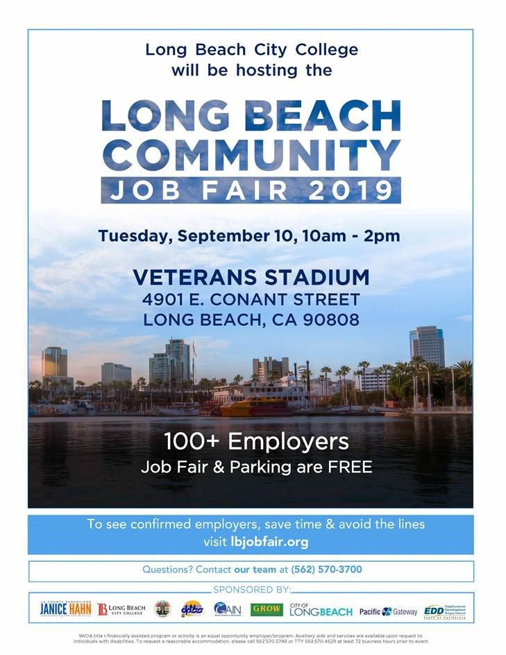 Lb Econdev On Twitter Our Workforce Bureau Pacgateway Has Teamed Up With Long Beach City College To Host The Largest Job Fair In La County Great Opportunity For Long Beach Job Seekers