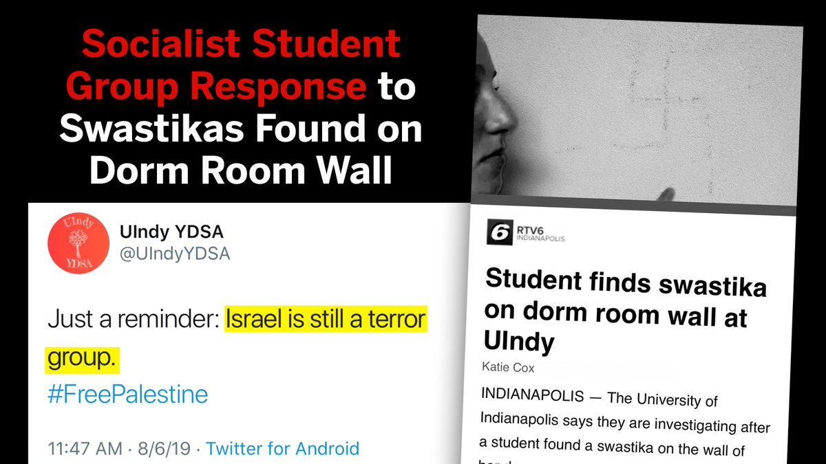 Socialist student group, @UIndyYDSA, responded to swastikas found on campus with an anti-Semitic tweet. Tell @UIndy to hold this hate group accountable and will @ReflectorUIndy report on this?