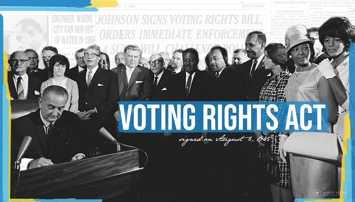 Countless Americans have fought to safeguard and expand the right to vote. 54 years after the Voting Rights Act became law, @HouseDemocrats remain committed to ensure that every American can exercise their right without interference. https://t.co/n9LcHokv7n https://t.co/s9kHGhjAgD