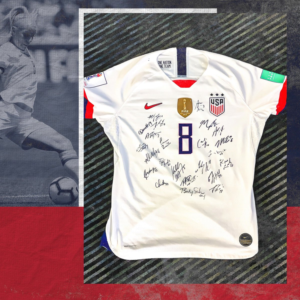 Dont miss out on this piece of history. Only one day left to bid on this one-of-a-kind game-worn jersey from the 2019 FIFA Womens World Cup signed by the entire #USWNT team. Click the link in our bio to bid now before time runs out! bit.ly/2Swpm9s