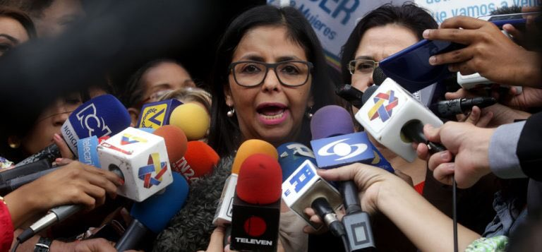 She also said that blockade against #Venezuela would  affect food and medicine when clearly clothing, food and medicine were exempted. Lying piece of Chavista shit is what she is... #6agosto #DelcyRodriguez <br>http://pic.twitter.com/gv8g9ORfhC