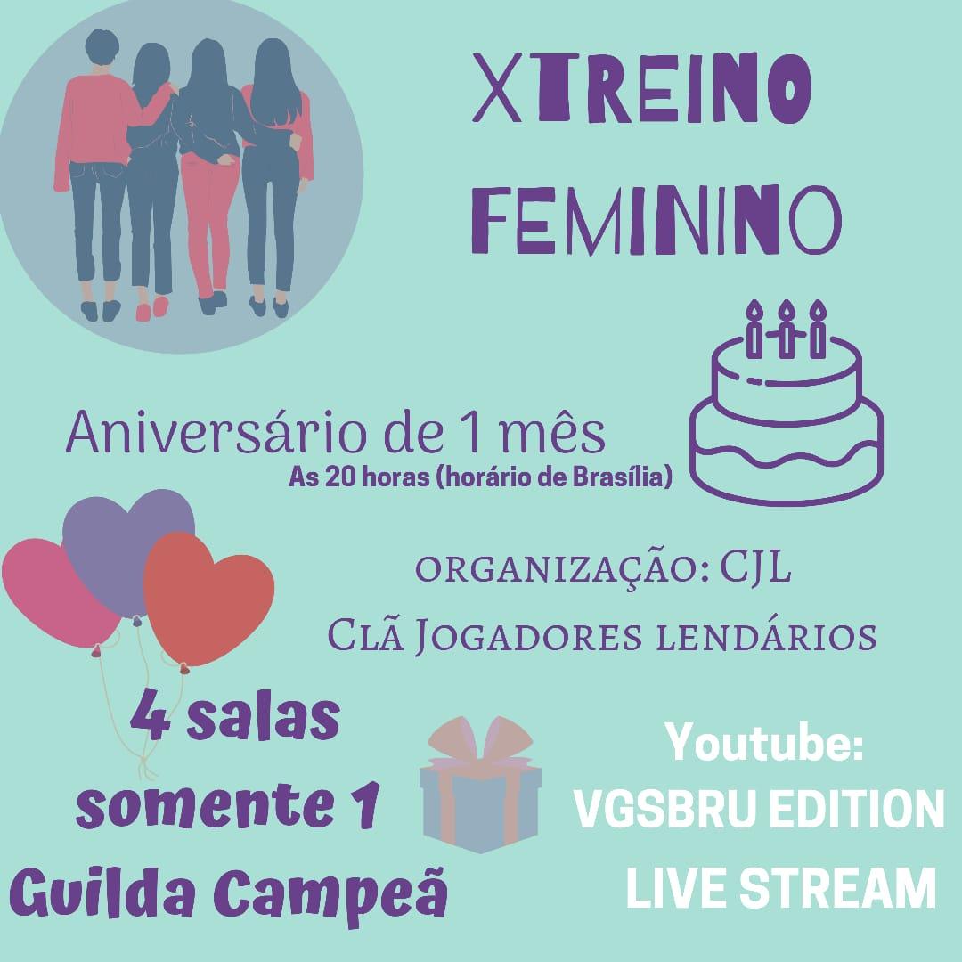 Evento Xtreino Feminino#freefiregirls #guildafeminina#meninasfreefire #xtreinos #meninasjogandofreefire#freefiremestres #freefirelindas #guildasfreefire #guildasff  Ao vivo às 20h canal no YouTube: vgsbrueditionpic.twitter.com/83OsPj06kc