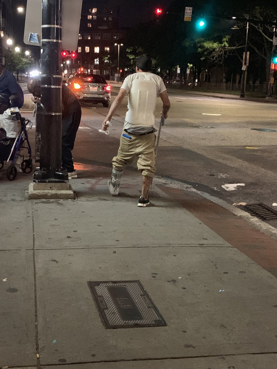 They just crushed three wheelchairs!   It was heartbreaking to speak with Jarrod, who lost not only his wheelchair, but everything he owns that he keeps in his backpack. He was hit by a car last Tuesday. @CityOfBoston @marty_walsh this is inhumane & cruel. #OperationCleanSweep https://twitter.com/Dinahlew/status/1158907669618536448…