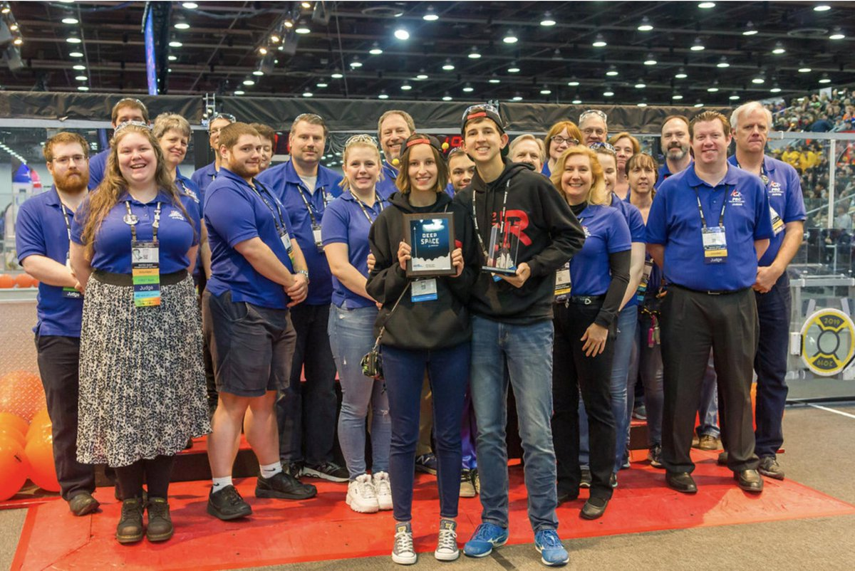 We finally got hold of a field-level picture of our Judges Award presentation from @FIRSTweets Championship Detroit! Thanks to @FRC341MissDaisy for the great pics! They have more here: