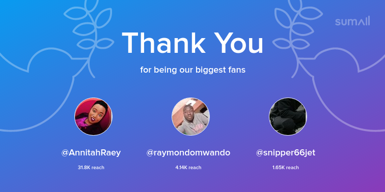 Our biggest fans this week: AnnitahRaey, raymondomwando, snipper66jet. Thank you! via sumall.com/thankyou?utm_s…