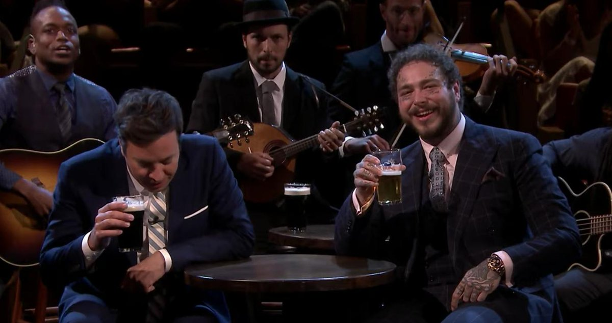 Watch Post Malone and Jimmy Fallon sing a rousing cover of Seven Drunken Nights  https://rol.st/2yLiw7b