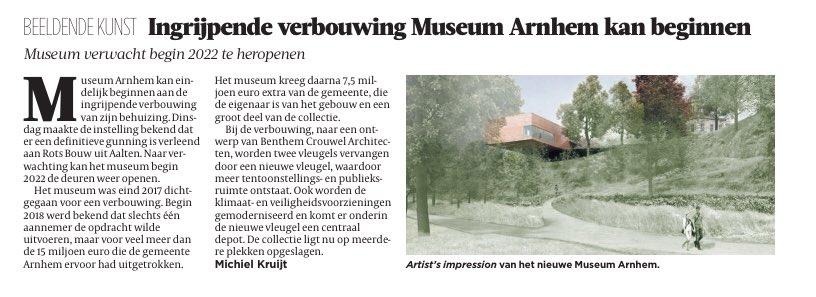 Gefeliciteerd collega's van @MuseumArnhem! Veel succes met de verbouwing van jullie nieuwe huis. We kijken er naar uit. @MadeInArnhem026 #arnhemsetrots #brutoarnhemsgeluk