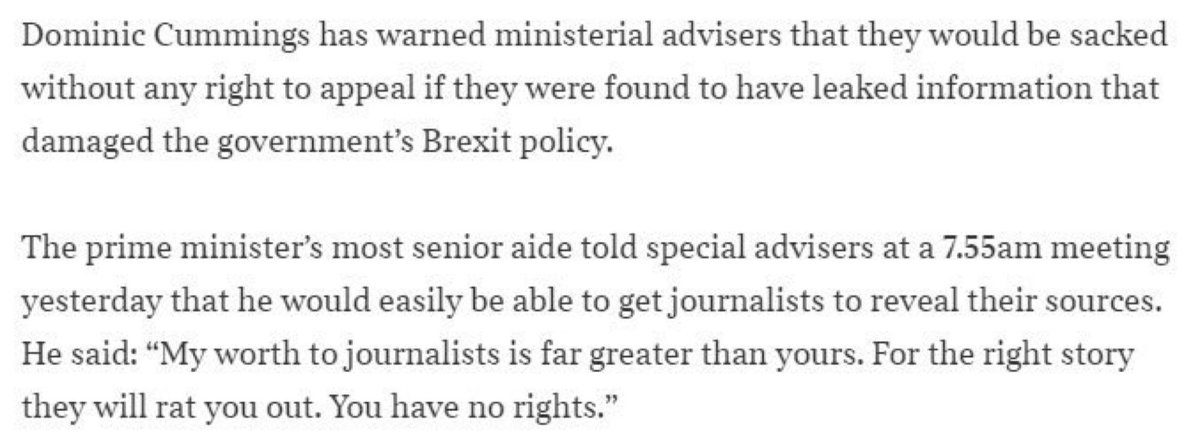 Dominic Cummings warning about leaks appears to have been, errrr, leaked...