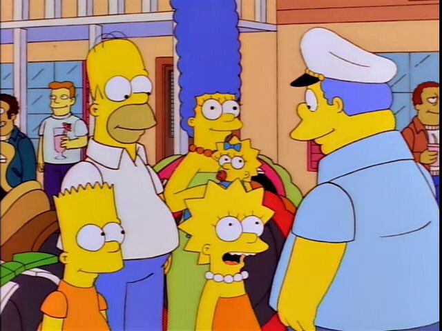 """""""Chief Wiggum, I can't wait to hear about all the exciting, sexy adventures you're sure to have against this colourful backdrop."""""""