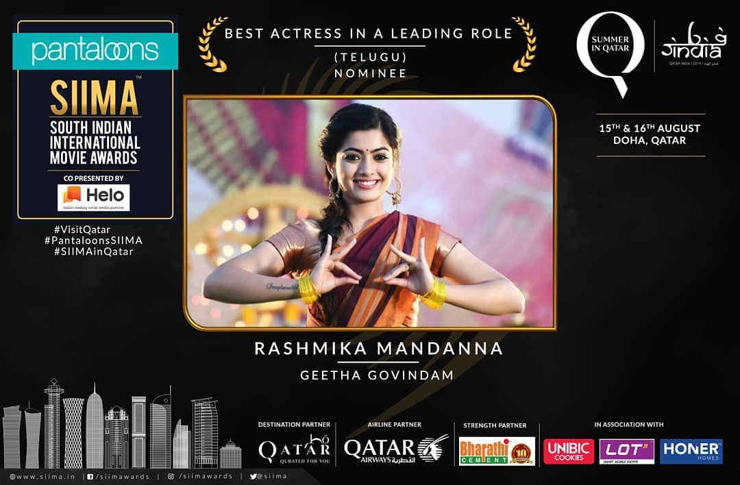 Queen @iamRashmika has been nominated for Pantaloons SIIMA