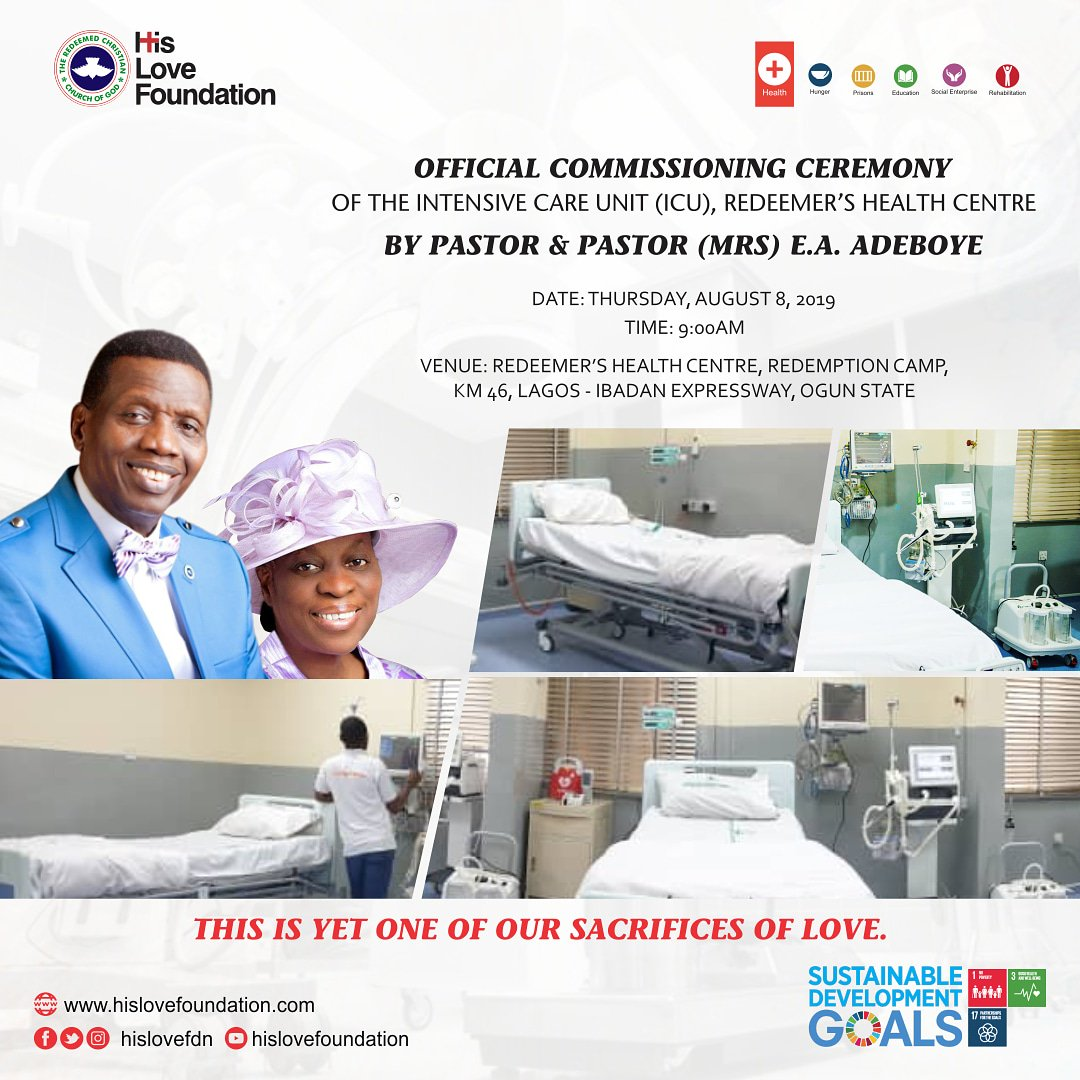 Image result for Adeboye Unveils ICU Centre At RCCG Headquarters In Ogun