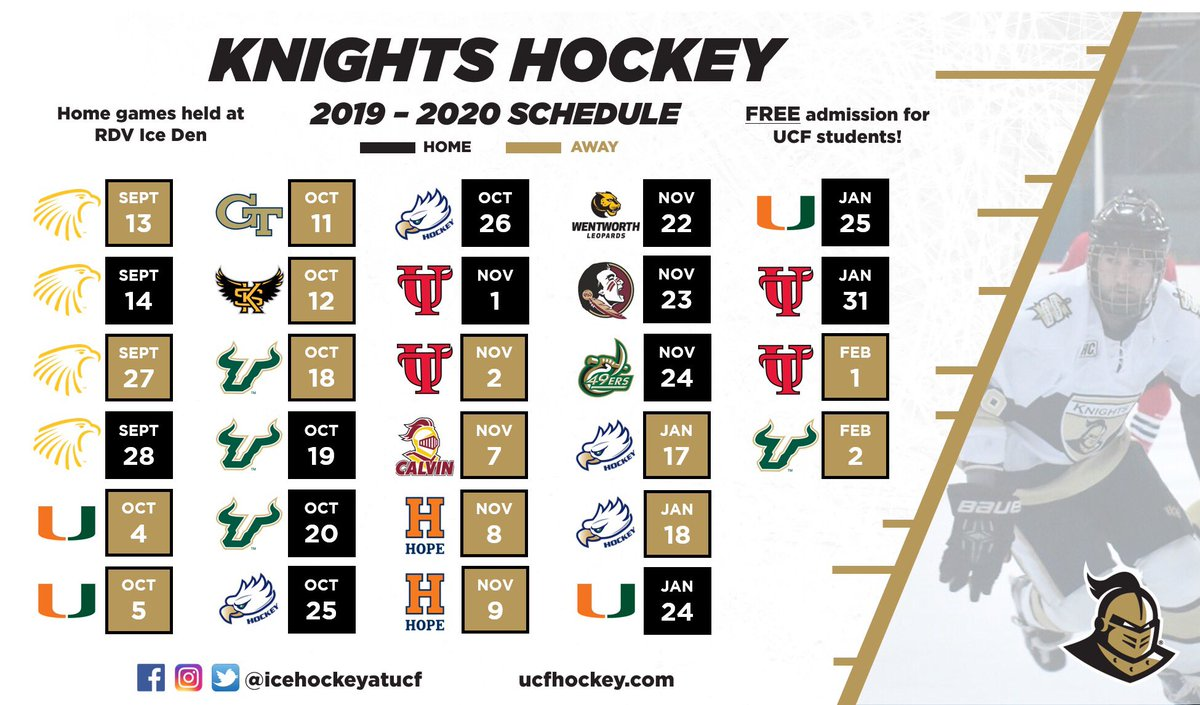 Ucf Football Schedule 2020.Knights Hockey Pa Twitter Finally Our 2019 2020 Schedule