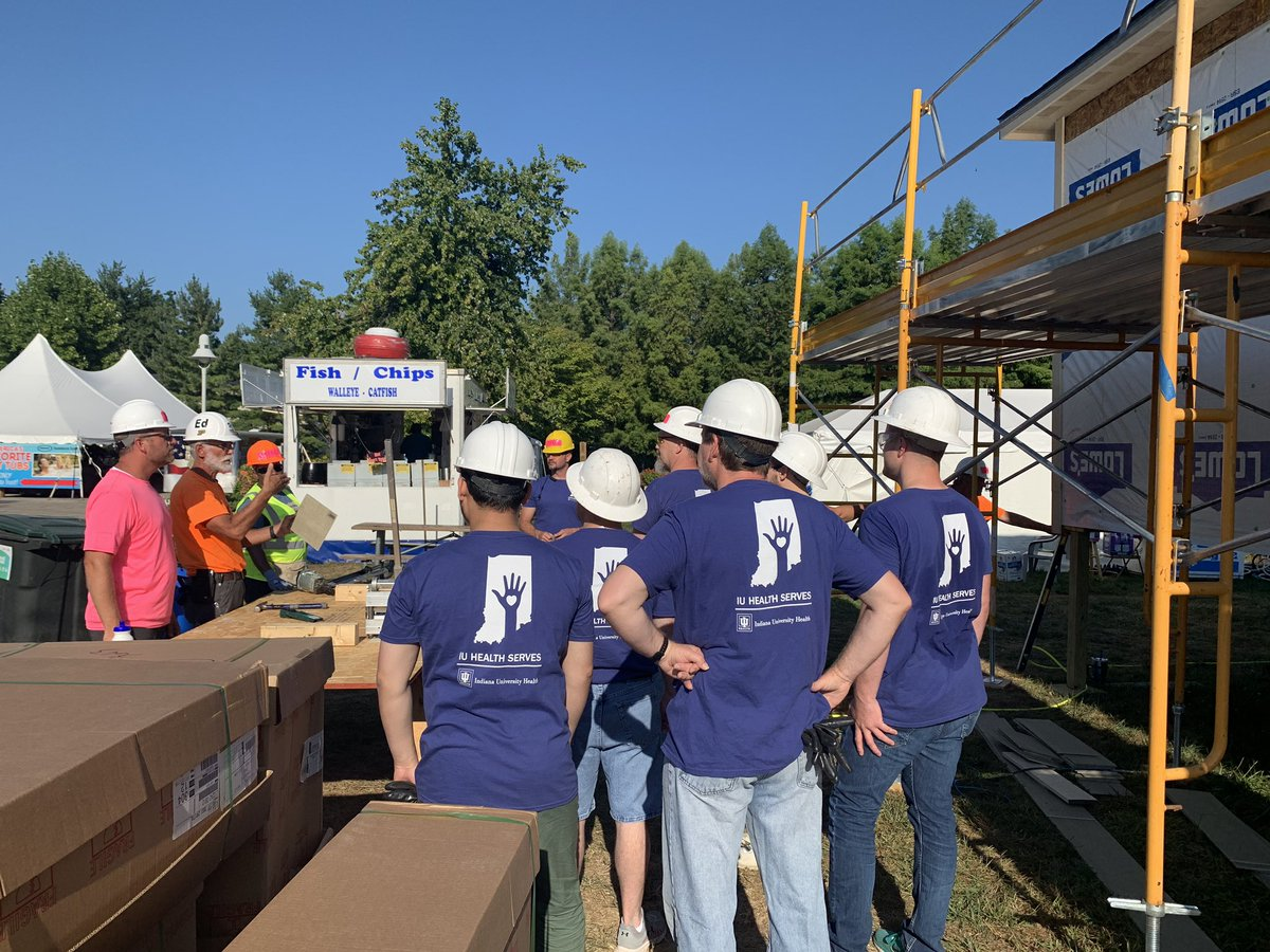 Our @IUHealthTeam members are committed to building healthier communities throughout Indiana, and today they are back at the @IndyStateFair building an @IndyHabitat house for one of our neighbors. #WeAreIUHealth #IUHealthServes #HabitatAgBuild @IU_Health